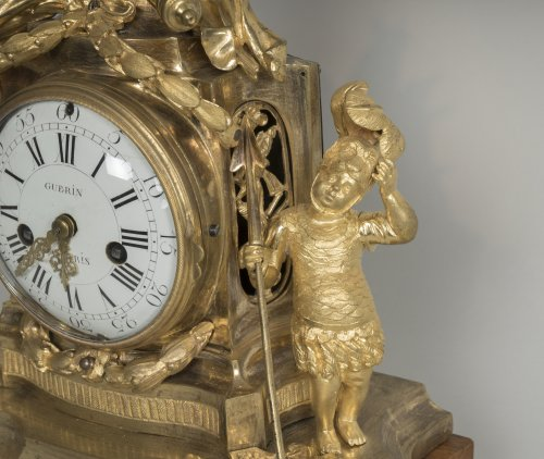 18th century - French Transition period gilt bronze mantel clock