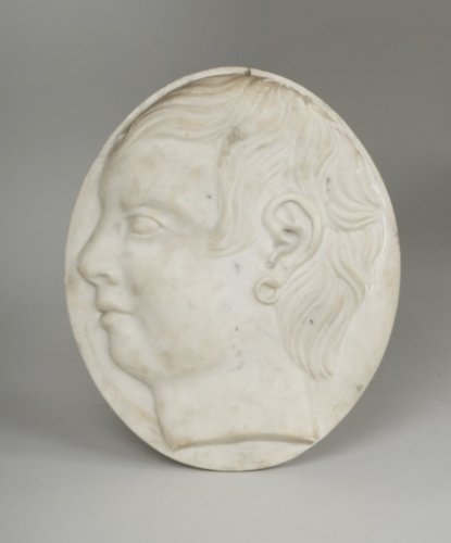 Sculpture  - marble medallion depicting a young man