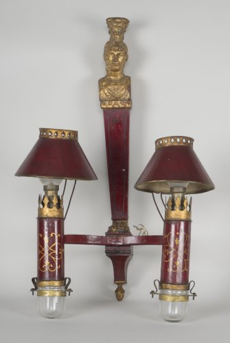 Set Of 3 Red Sheet Metals Sconces - Lighting Style Empire