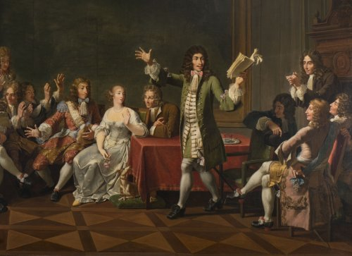 Molière Reading Tartuffe at Ninon de Lenclos's by Monsiau - Paintings & Drawings Style