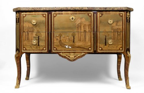French Transition Commode Stamped by Gilbert