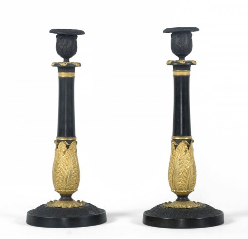 Pair of French Restauration Candlesticks