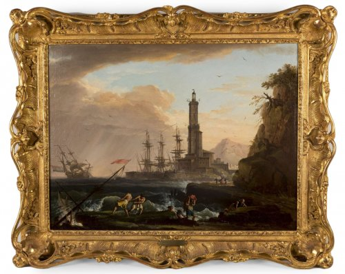 Marine, Nightfall on a Mediterranean Port by Charles François Lacroix de Marseille (1700-1782)