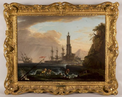 Marine, Nightfall on a Mediterranean Port by Charles François Lacroix de Marseille (1700-1782) - Paintings & Drawings Style