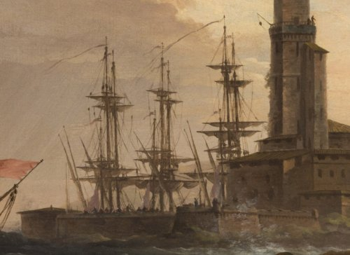 Paintings & Drawings  - Marine, Nightfall on a Mediterranean Port by Charles François Lacroix de Marseille (1700-1782)