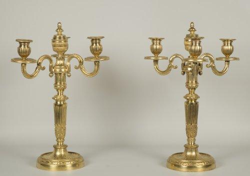 Pair of Louis XVI candelabrum - Lighting Style Louis XVI