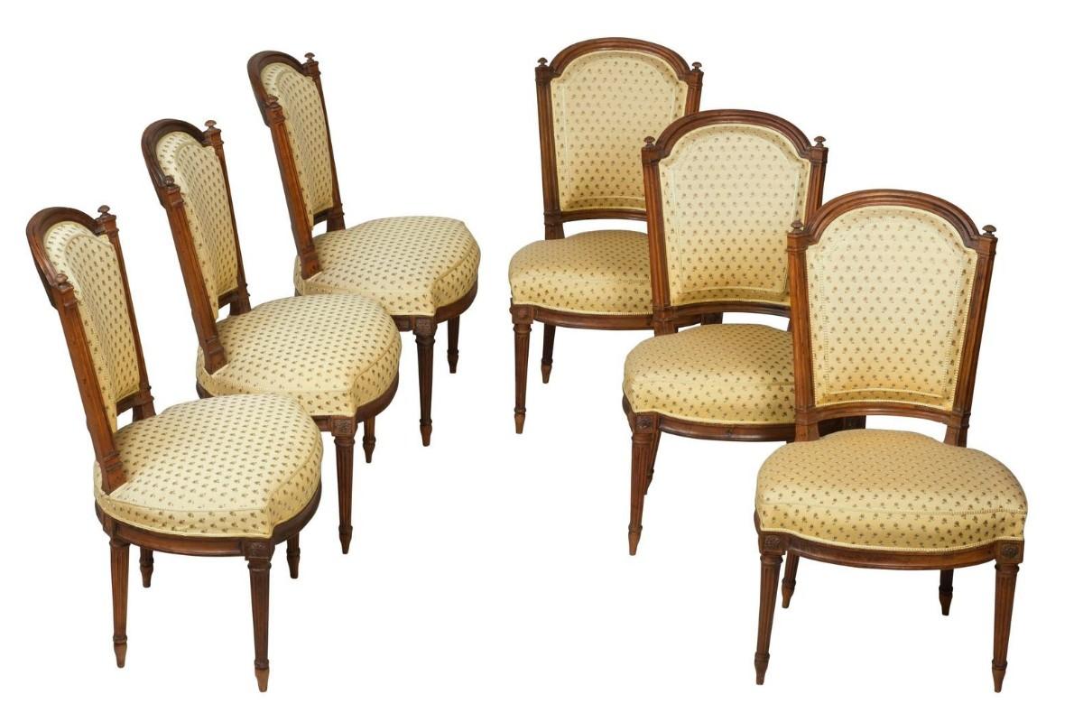 suite de six chaises en noyer d 39 poque louis xvi xviiie si cle. Black Bedroom Furniture Sets. Home Design Ideas