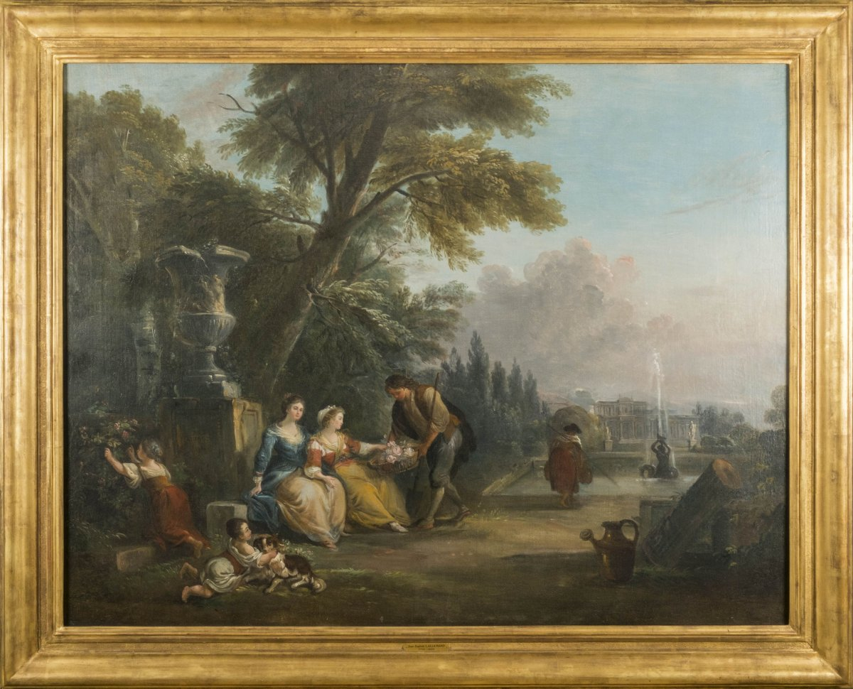 Offering flowers in the park - Jean-Baptiste Lallemand (1716 - 1803)