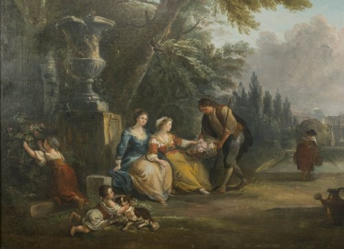 Offering flowers in the park - Jean-Baptiste Lallemand (1716 - 1803) - Paintings & Drawings Style