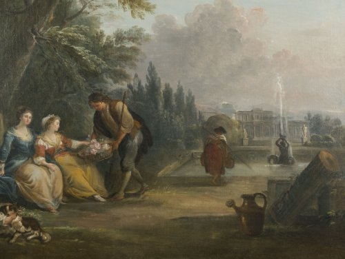 Paintings & Drawings  - Offering flowers in the park - Jean-Baptiste Lallemand (1716 - 1803)