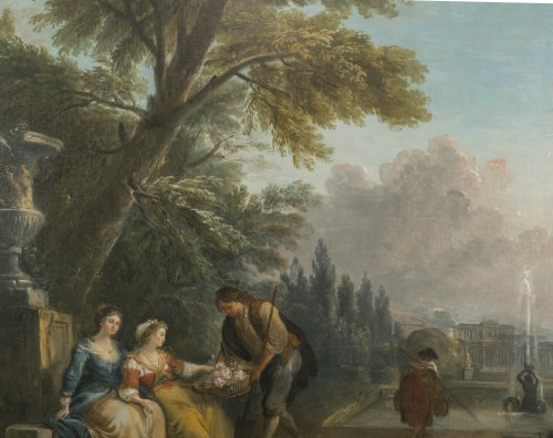 Offering flowers in the park - Jean-Baptiste Lallemand (1716 - 1803) -