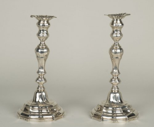 Pair of silver candlesticks - Master Goldsmith ATH -