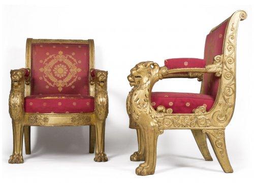 Pair of armchairs, stamped L. Bellange
