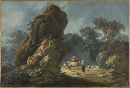 Jean Pillement (1728-1808) - Drovers with their herd in a rocky landscape