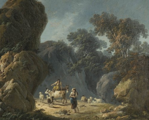 Jean Pillement (1728-1808) - Drovers with their herd in a rocky landscape - Paintings & Drawings Style
