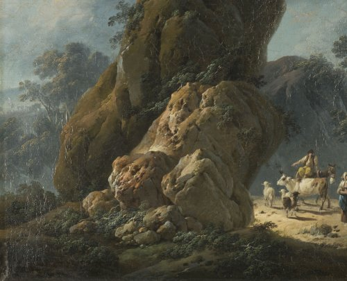 Paintings & Drawings  - Jean Pillement (1728-1808) - Drovers with their herd in a rocky landscape