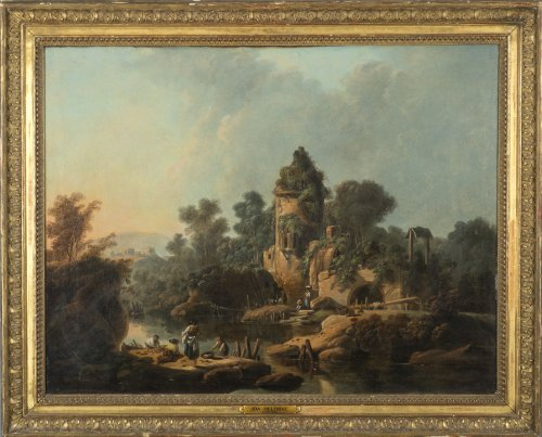 Jean Pillement (1728-1808), Figures fishing in a river landscape