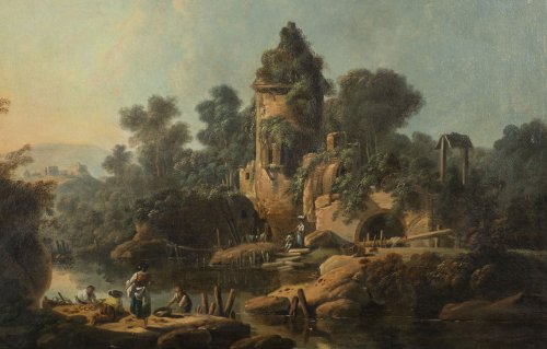 Jean Pillement (1728-1808), Figures fishing in a river landscape - Paintings & Drawings Style