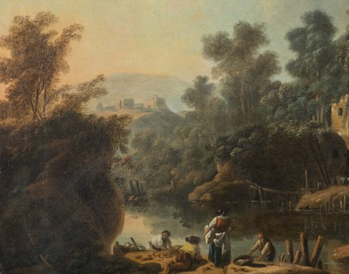 Paintings & Drawings  - Jean Pillement (1728-1808), Figures fishing in a river landscape
