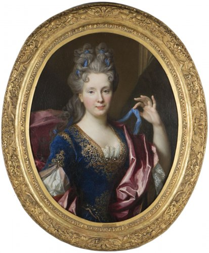 Nicolas de Largillière Paris 1656-1746)-Portrait  of Geneviève Chamillard