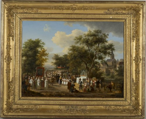 "A procession of the ""Fête Dieu"" in the countryside - J.F. Demay (1798 –1850)"