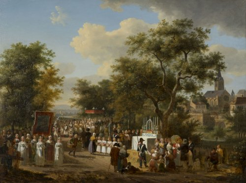 "A procession of the ""Fête Dieu"" in the countryside - J.F. Demay (1798 –1850) - Paintings & Drawings Style"