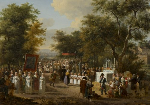 "Paintings & Drawings  - A procession of the ""Fête Dieu"" in the countryside - J.F. Demay (1798 –1850)"