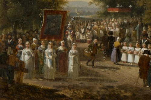 "A procession of the ""Fête Dieu"" in the countryside - J.F. Demay (1798 –1850) -"
