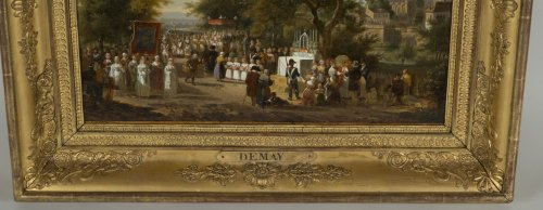 "19th century - A procession of the ""Fête Dieu"" in the countryside - J.F. Demay (1798 –1850)"