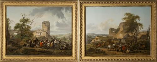 Pair of horsemen halt scenes - C.M.H. Duplessis