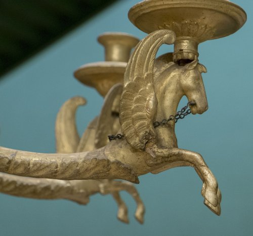 Antiquités -  Neoclassic Giltwood Chandelier
