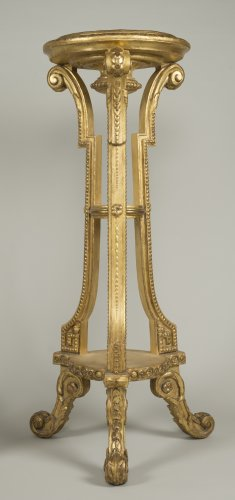 Furniture  - Pair of giltwood and stucco stands