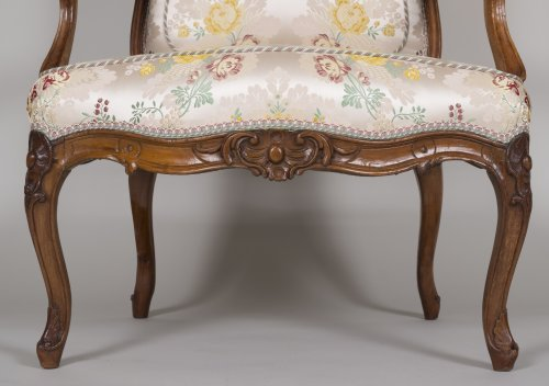Pair of walnut armchairs stamped Tilliard -