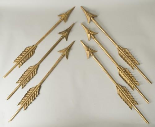Set Of Six Gilt Wood Arrows - Decorative Objects Style