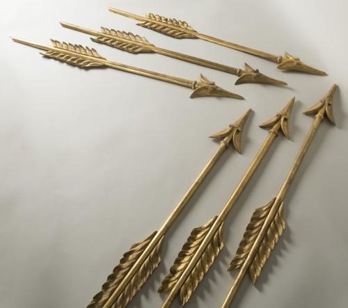 Set Of Six Gilt Wood Arrows -
