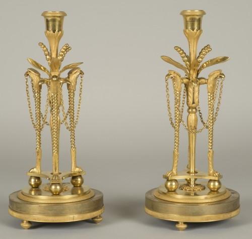 Pair of louis XVI candlesticks - Lighting Style Louis XVI
