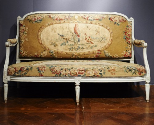 Louis XVI Aubusson tapestry sofa