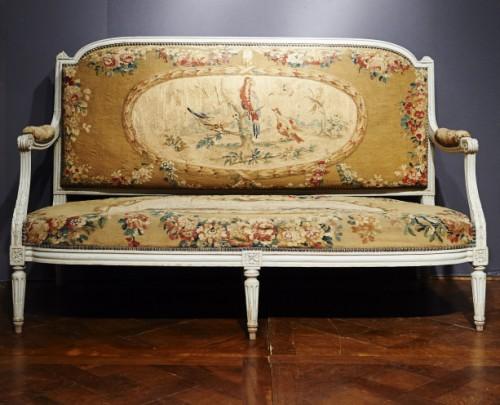 Louis XVI Aubusson tapestry sofa