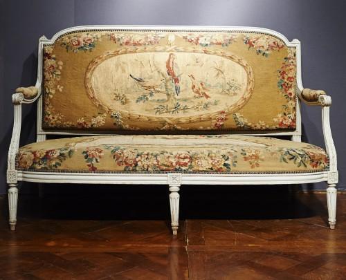 Louis XVI Aubusson tapestry salon  - Seating Style Louis XVI