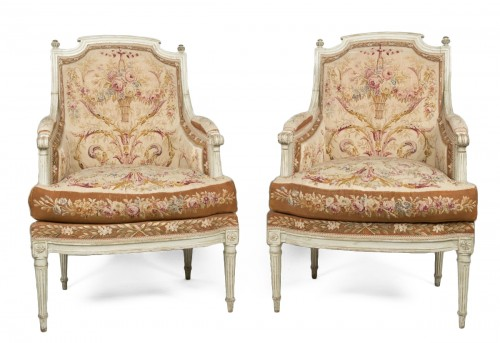Pair of Louis XVI tapestry wingchairs stamped Lelarge