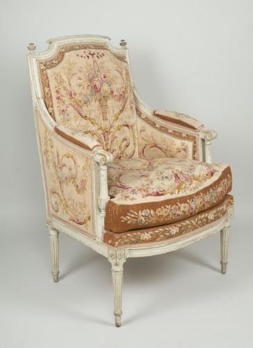 Pair of Louis XVI tapestry wingchairs stamped Lelarge - Seating Style Louis XVI