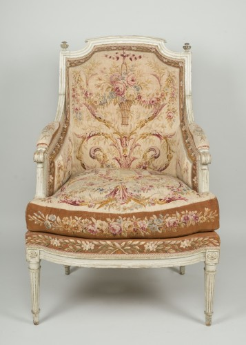 Seating  - Pair of Louis XVI tapestry wingchairs stamped Lelarge