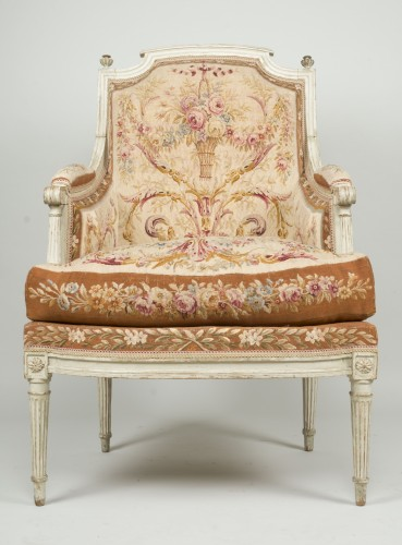 Pair of Louis XVI tapestry wingchairs stamped Lelarge -