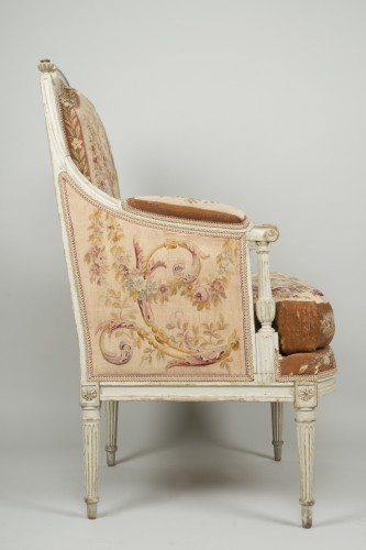 18th century - Pair of Louis XVI tapestry wingchairs stamped Lelarge