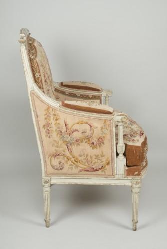 Louis XVI - Pair of Louis XVI tapestry wingchairs stamped Lelarge