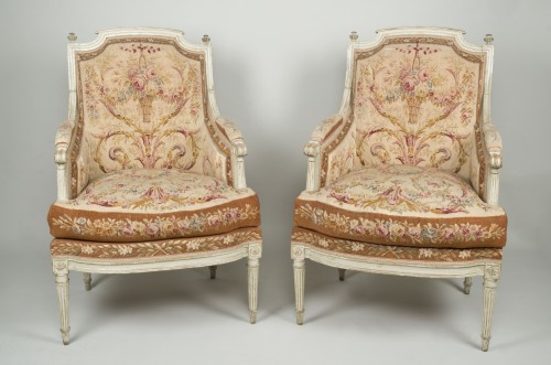Antiquités - Pair of Louis XVI tapestry wingchairs stamped Lelarge