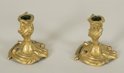18th century - Pair of small Louis XV candlesticks