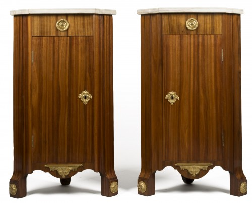 Pair of Louis XV corner cabinets from chateau of Chanteloup