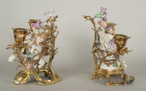Pair of porcelain candlesticks -