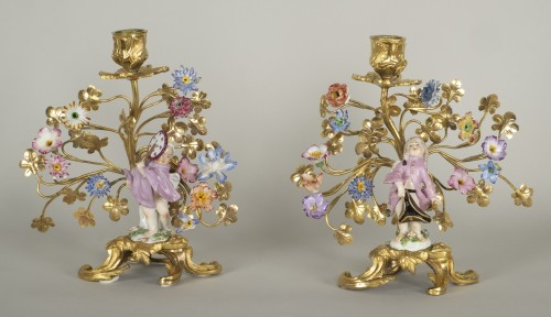 Pair of porcelain and gilt bronze candlesticks - Lighting Style